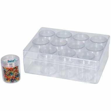 1x opberg sorteer box dozen 16 cm met 12 losse potjes