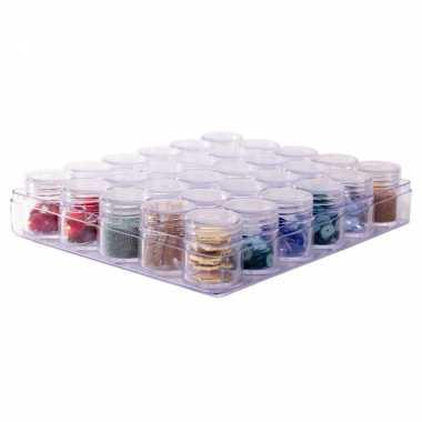 1x opberg/sorteer box/dozen 16 cm met 30 losse potjes