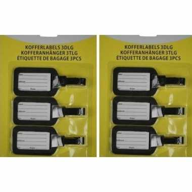 2x kofferlabel / bagagelabel set van 3 stuks zwart