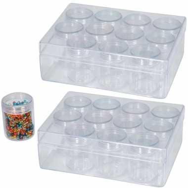 2x opberg/sorteer box/dozen 16 cm met 12 losse potjes