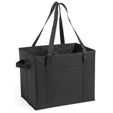 2x stuks auto kofferbak kasten organizer tassen zwart vouwbaar 34 x 28 x 25 cm