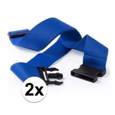2x stuks kofferriemen blauw 180 cm