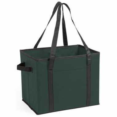 Auto kofferbak/kasten organizer tas groen vouwbaar 34 x 28 x 25 cm