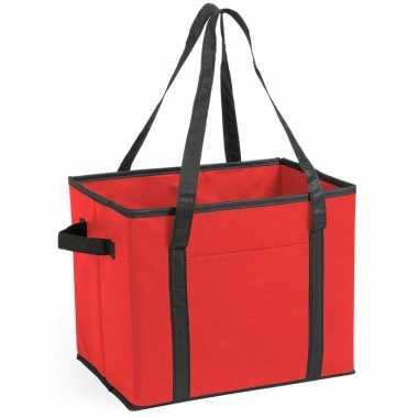 Auto kofferbak/kasten organizer tas rood vouwbaar 34 x 28 x 25 cm