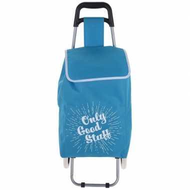 Blauwe boodschappen trolley only cool stuff 95 cm