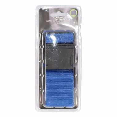 Blauwe verstelbare kofferriem extra sterk