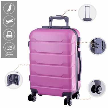 Cabine trolley koffer met zwenkwielen 33 liter roze