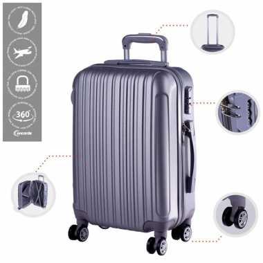 Cabine trolley koffer met zwenkwielen 33 liter zilver