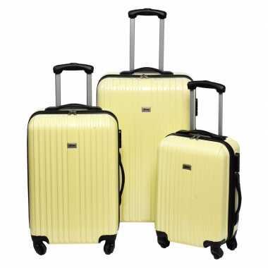 Gele grote reiskoffer 66 cm