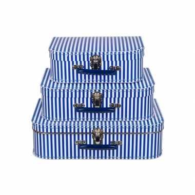Kinderkoffertje blauw met witte strepen 35 cm