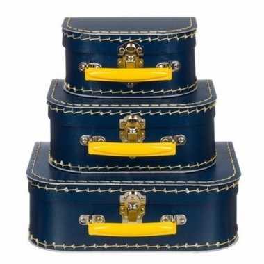 Kinderkoffertje navy/geel 25 cm