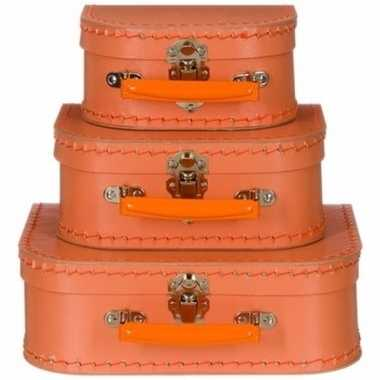 Kinderkoffertje pastel oranje 25 cm