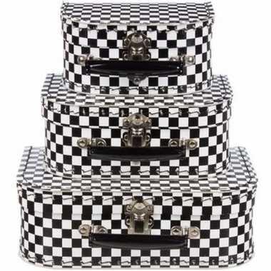 Kinderkoffertje zwart/wit 16 cm geblokt