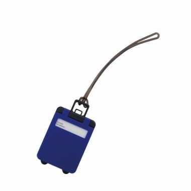 Kofferlabel kobalt blauw 9,5 cm