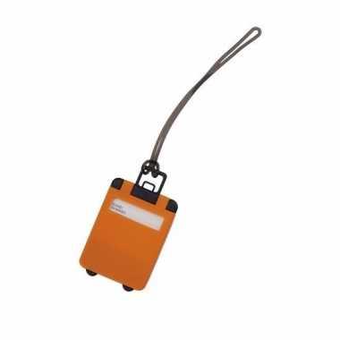 Kofferlabel oranje 9,5 cm