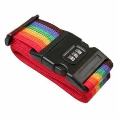 Kofferriem / bagageriem met cijferslot 200 cm regenboog kleuren