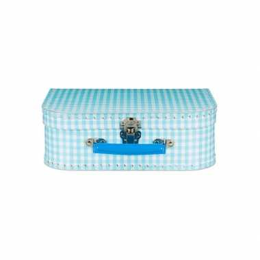 Koffertje blauw geruit 25 cm