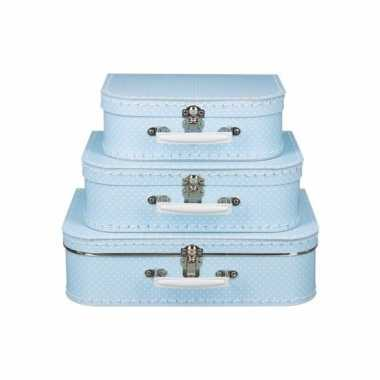 Koffertje licht blauw met witte stipjes 30 cm