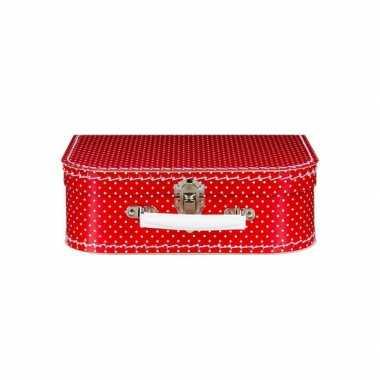 Koffertje rood met witte stippen 25 cm