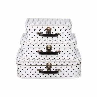 Koffertje wit met zwarte stippen 30 cm