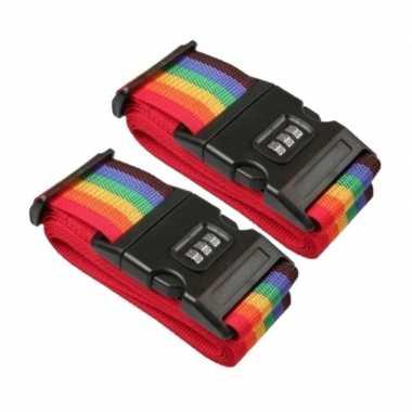 Pakket van 2x stuks kofferriemen / bagageriemen met cijferslot 200 cm regenboog kleuren
