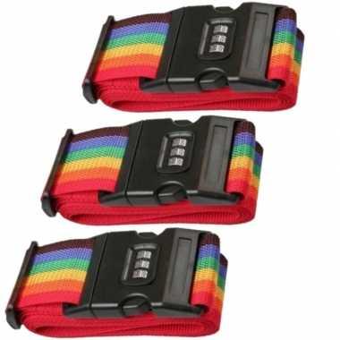 Pakket van 3x stuks kofferriemen / bagageriemen met cijferslot 200 cm regenboog kleuren