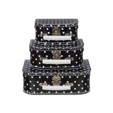 Poppen koffertje zwart met witte stippen 16 cm