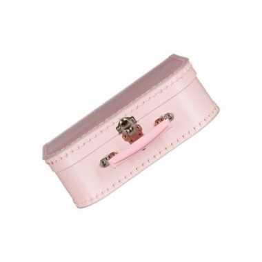 Roze kinder speelgoed koffertje van 25 cm