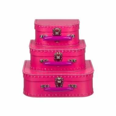 Speelgoed koffertje fuchsia roze 20 cm