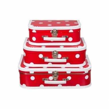 Speelgoed koffertje rood polka dot 30 cm