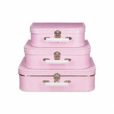 Speelgoed koffertje roze met stippen wit 30 cm
