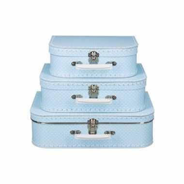 Speelgoedkoffertje licht blauw met witte stipjes 30 cm