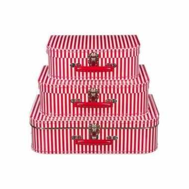 Speelgoedkoffertje rood met witte strepen 25 cm