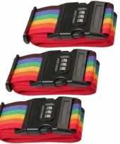 Pakket van 3x stuks kofferriemen bagageriemen met cijferslot 200 cm regenboog kleuren